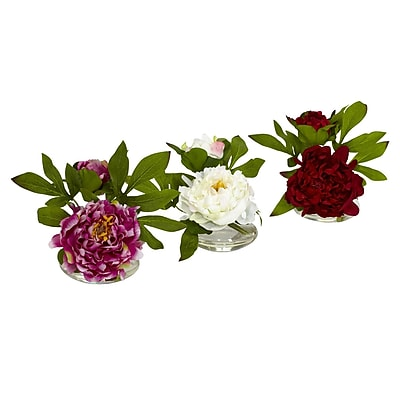 Nearly Natural 4789 Peony with Glass Vase Set of 3 Floral Arrangements, Assorted
