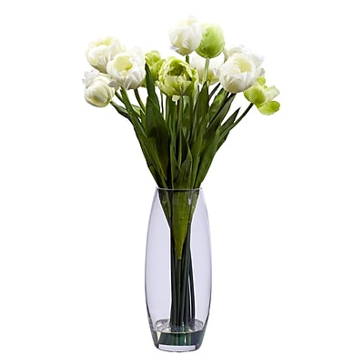 Nearly Natural 4792 Tulip with Vase Floral Arrangements, White