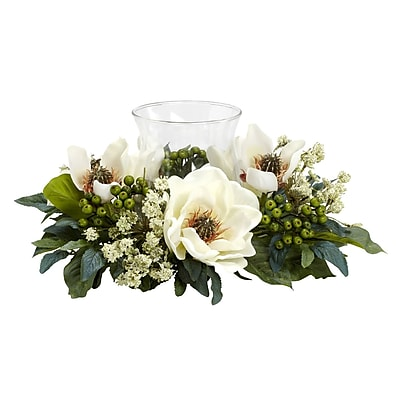 Nearly Natural 4794 Magnolia Candelabrums, Green