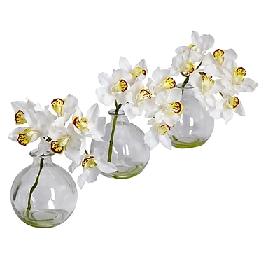 Nearly Natural 4797 Cymbidium with Vase Set of 3, White