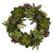 """Nearly Natural 4798 20"""" Succulent Wreath, Green"""
