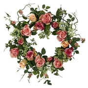 """Nearly Natural 4802 20"""" Rose Wreath, Pink"""