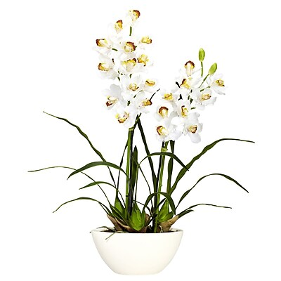 Nearly Natural 4803 Cymbidium with White Vase, White
