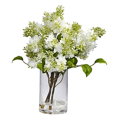 Nearly Natural 4805 Lilac Silk Floral Arrangements, White