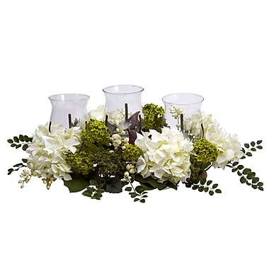 Nearly Natural 4806 Snowball Hydrangea Candelabrums, Green