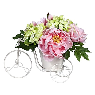Nearly Natural 4807 Peony and Hydrangea Tricycle, Assorted