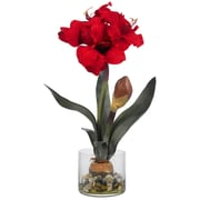 Nearly Natural 4827 Amaryllis with Round Vase, Red