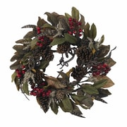 """Nearly Natural 4901 24"""" Pinecone Feather Wreath, Green"""