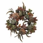 "Nearly Natural 4902 24"" Pumpkin Gourd Wreath, Green"