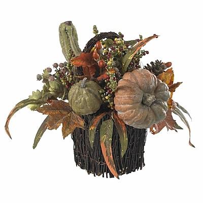 Nearly Natural 4903 Fall Pumpkin Berry Floral Arrangements, Green