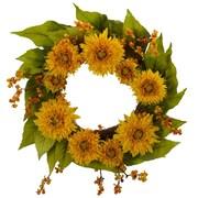 "Nearly Natural 4904 22"" Sunflower Wreath, Yellow"