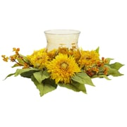 Nearly Natural 4905 Golden Sunflower Candelabrums, Yellow