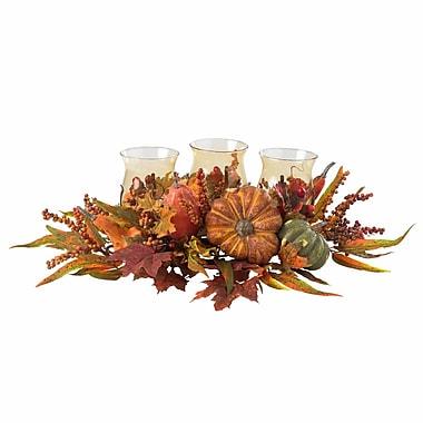 Nearly Natural 4909 Harvest Triple Candelabrums, Orange