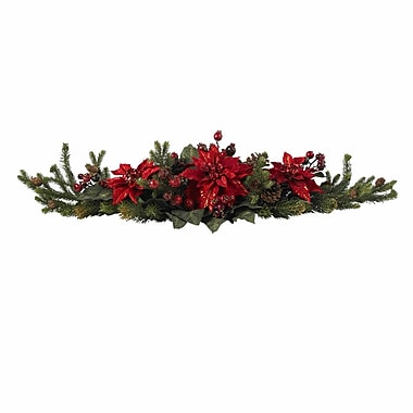 Nearly Natural 4917 Poinsettia Berry Centerpieces, Red