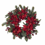"""Nearly Natural 4919 24"""" Poinsettia Wreath, Red"""