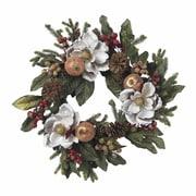 "Nearly Natural 4923 24"" Magnolia Pinecone Berry Wreath, White"