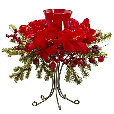 Nearly Natural 4927 Amaryllis Candelabrums, Red