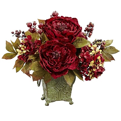 Nearly Natural 4928 Peony and Hydrangea Floral Arrangements, Red