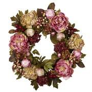 "Nearly Natural 4930 24"" Peony Hydrangea Wreath, Pink"