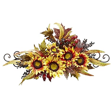 Nearly Natural Sunflower Swag with Metal Frame (4932)