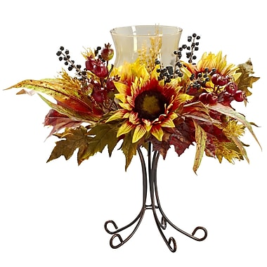 Nearly Natural Sunflower Candelabrums, Yellow (4933)