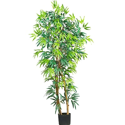 Nearly Natural 5187 5' Curved Bamboo Silk Tree in Pot