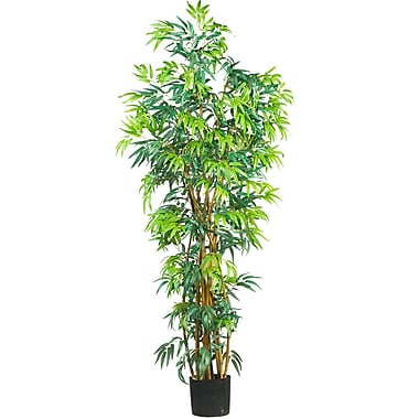 Nearly Natural 5188 6' Curved Bamboo Silk Tree in Pot