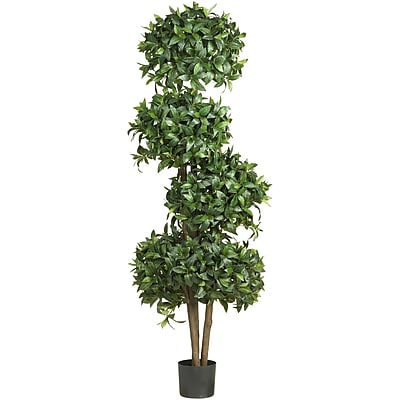 "Nearly Natural 5244 69"" Sweet Bay Topiary Plant in Pot"