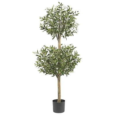 Nearly Natural 5309 Olive Double Topiary Tree in Pot