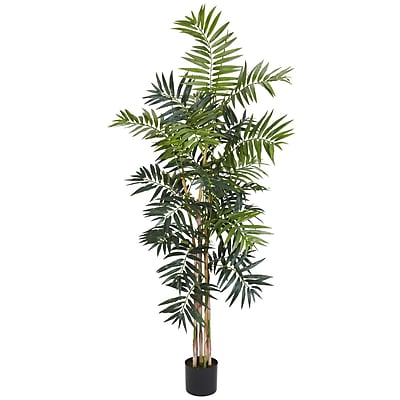 Nearly Natural 5319 5' Bamboo Palm Silk Tree in Pot