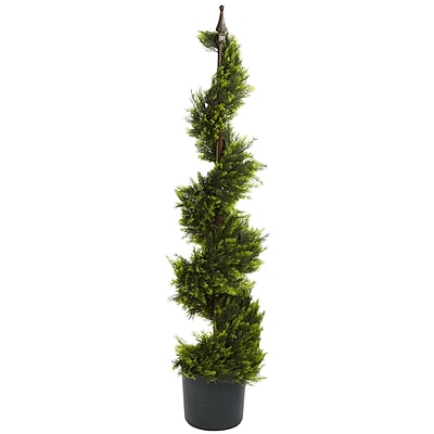 Nearly Natural 5324 4' Cypress Spiral Silk Tree in Pot