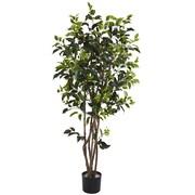 Nearly Natural 5333 5' Ficus Bushy Silk Tree in Pot