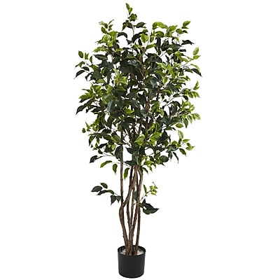 Nearly Natural 5333 5' Ficus Bushy Silk Tree in Pot