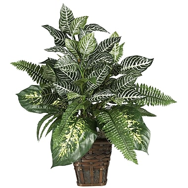 Nearly Natural 6528 Mixed Greens Floor Plant in Decorative Vase