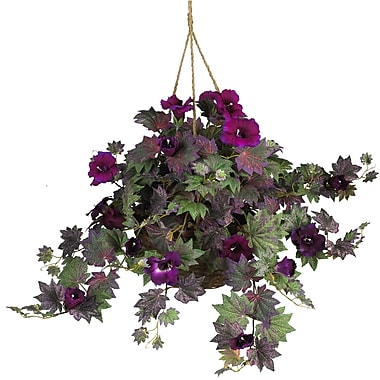 Nearly Natural 6610 Morning Glory Hanging Plant in Basket