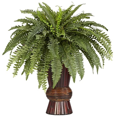 Nearly Natural 6628 Boston Fern Floor Plant in Decorative Vase