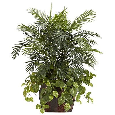 Nearly Natural 6633 Double Areca Floor Plant in Decorative Vase