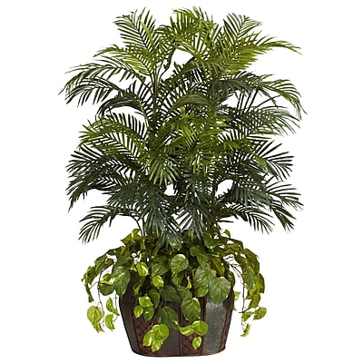 Nearly Natural 6634 Double Areca Floor Plant in Decorative Vase