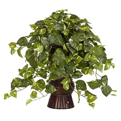 Nearly Natural 6646 Pothos Desk Top Plant in Decorative Vase