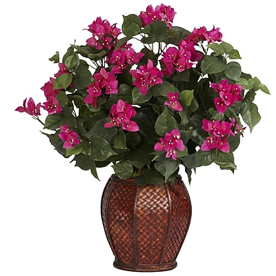 Nearly Natural 6652 Bougainvillea with Desk Top Plant in Decorative Vase