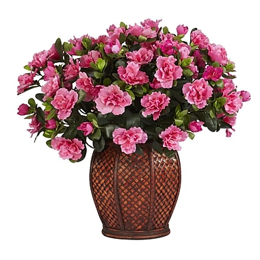 Nearly Natural 6653 Azalea in Vase Silk Plant in Pot