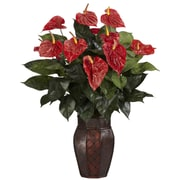 Nearly Natural 6666 Anthurium Desk Top Plant in Decorative Vase