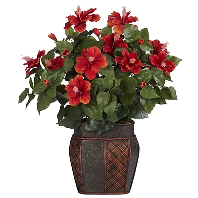 Nearly Natural 6667 Hibiscus Desk Top Plant in Decorative Vase