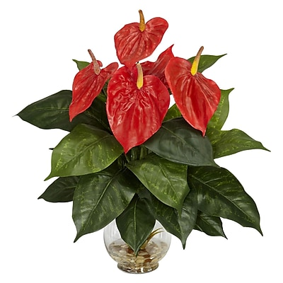 Nearly Natural 6668 Anthurium Plant in Fluted Glass Bowl