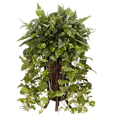 Nearly Natural 6674 Vining Mixed Greens Silk Floor Plant in Decorative Vase