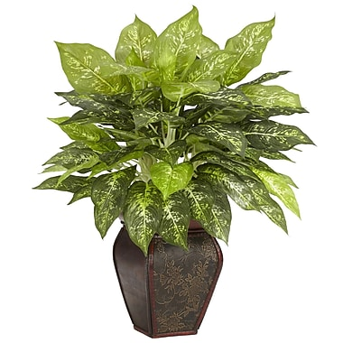 Nearly Natural 6676 Dieffenbachia Desk Top Silk Plant in Decorative Vase