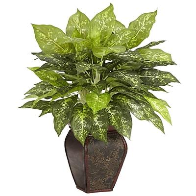 Nearly Natural 6676 Dieffenbachia Desk Top Silk Plant in Decorative Vase