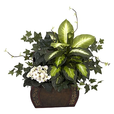 Nearly Natural 6684 African Violet and Ivy Desk Top Plant in Decorative Vase