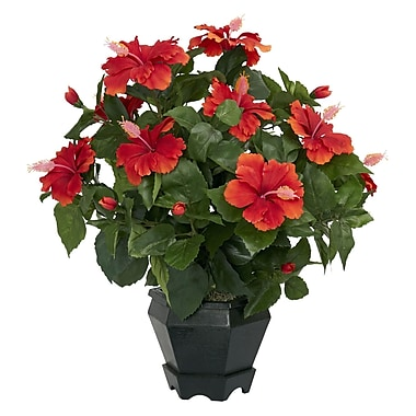 Nearly Natural 6691 Hibiscus Desk Top Plant in Decorative Vase