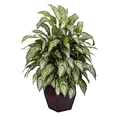 Nearly Natural 6693 Silver Queen Plant in Planter
